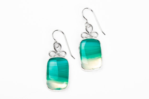 Striped Green Onyx Agate Gemstone Earrings in Sterling Silver // Big large green stone rectangle dangle drop earrings gift for her