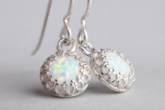 White Opal Gemstone Dangle Drop Earrings in Sterling Silver