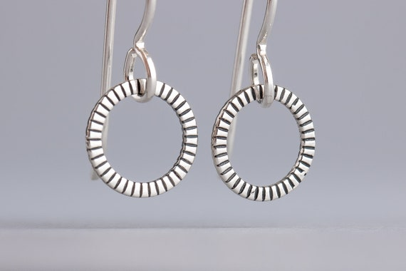 Silver Halo Earrings - Sterling Silver Round Circle Dangle Drop Earrings - Small and Minimal Everyday Jewelry - Tiny Circle Earrings