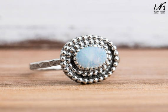 White Boulder Opal Gemstone Ring in Sterling Silver - Size 8