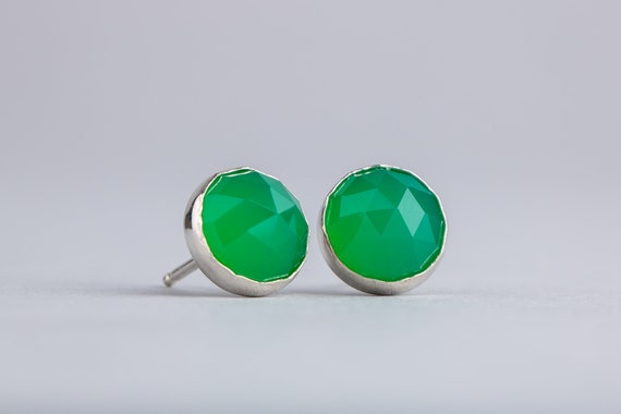 Green Onyx Earrings - 8mm Faceted Green Onyx Post Stud Earrings in Sterling Silver - Rose Cut Onyx Earrings - Simple Green Earrings