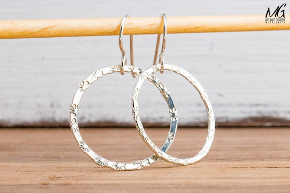 Daisy Flower Textured Round Circle Halo Dangle Earrings in Sterling Silver