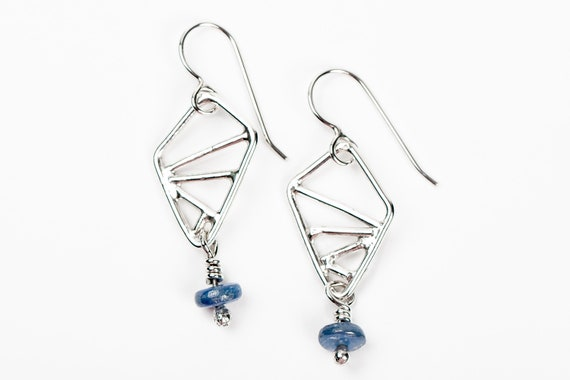 Sterling Silver Geometric Drop Earrings with Blue Kyanite Gemstones // Small triangular diamond dark blue minimal geo dangle drop earrings