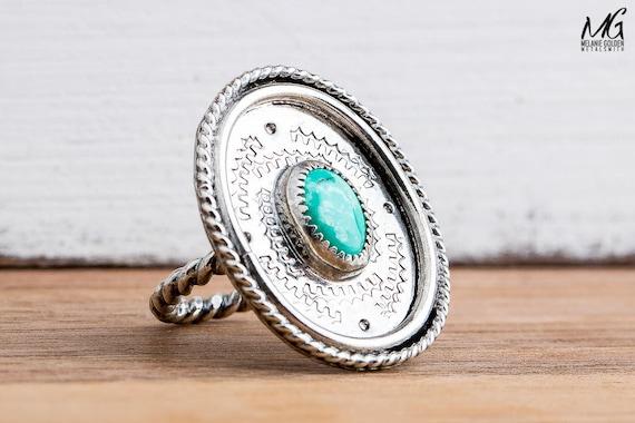 Aqua Blue Tibetan Turquoise Gemstone Ring in Sterling Silver