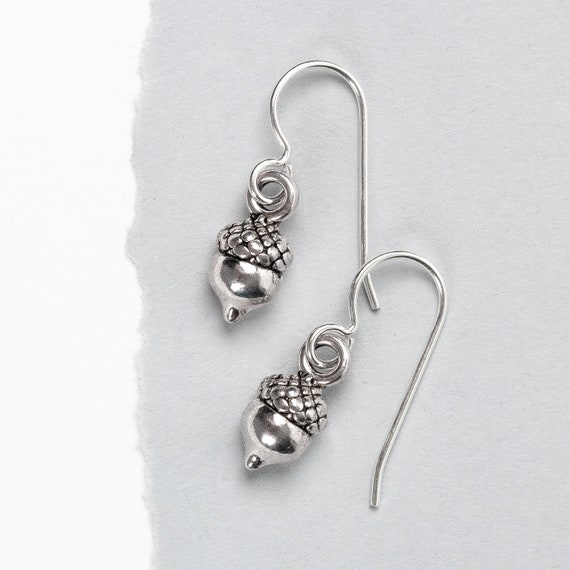 Tiny Sterling Silver Acorn Earrings // Little silver acorn nut seed dangle drop fall autumn winter Halloween Thanksgiving Christmas Earrings