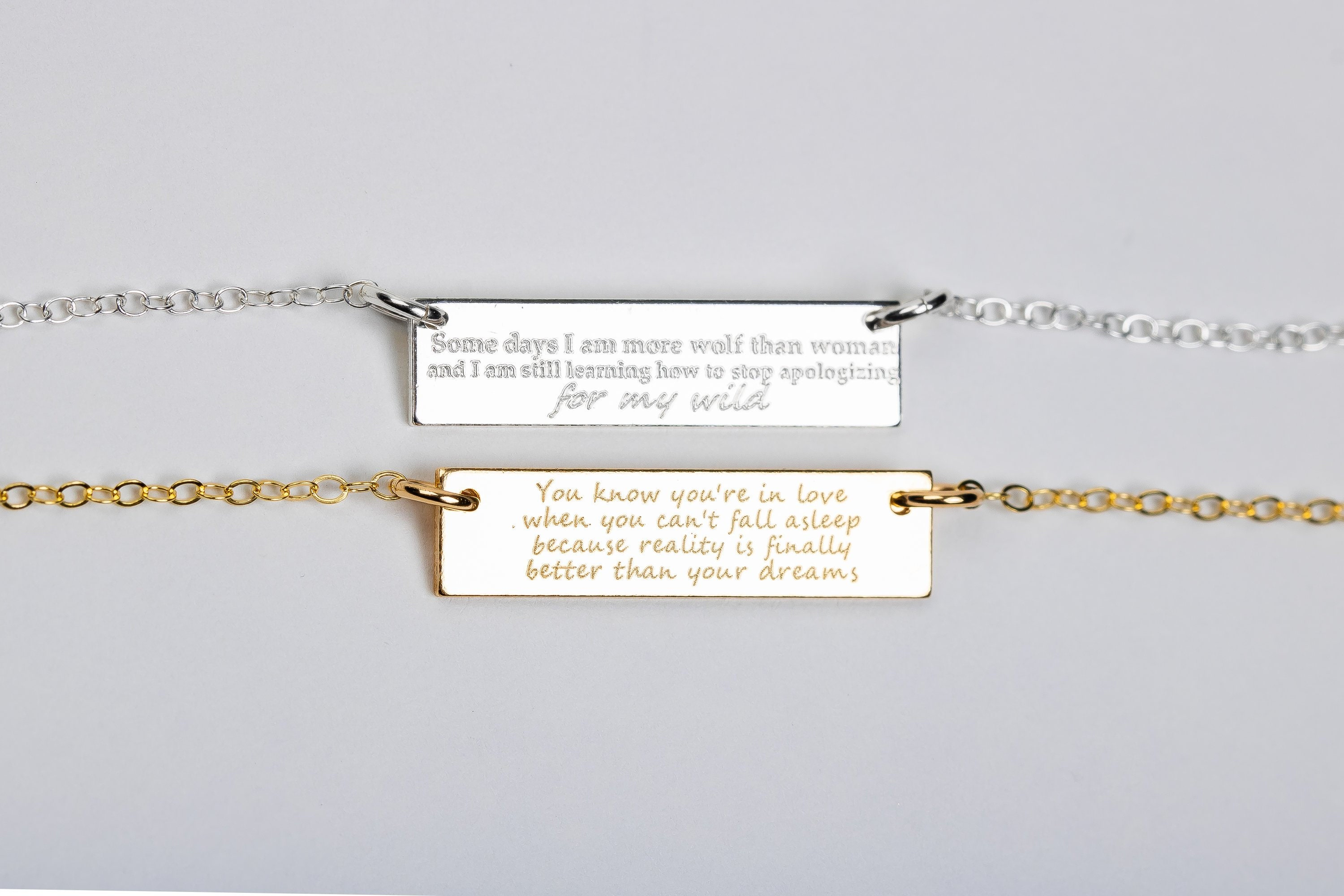 57ab0e7d3a04 Custom Quote Necklace    Personalized Custom Horizontal Bar Necklace    Gold