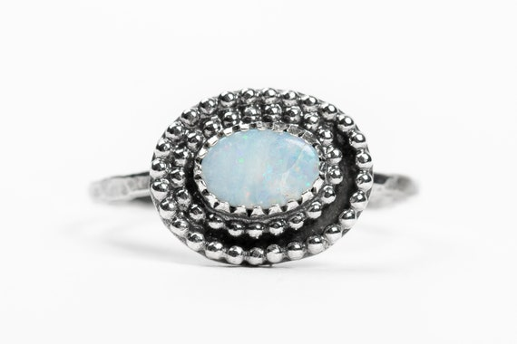SIZE 8 White Boulder Opal Gemstone Ring in Sterling Silver // Bohemian boho light baby blue beaded solitaire ring - October birthstone
