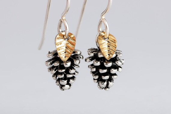Tiny Silver Pinecone Earrings with Leaves in Sterling Silver