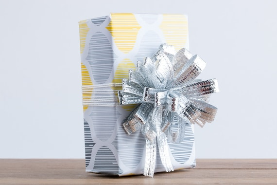 Gift Wrapping Service Add on // Yellow and Gray Tile Gift Wrapping