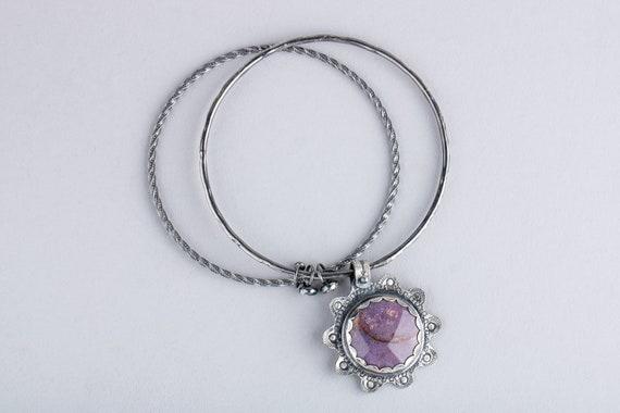 Purple Burro Creek Jasper Gemstone Bangle Bracelet in Sterling Silver