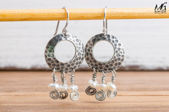 Sterling Silver Dangle Earrings with Tiny White Freshwater Keshi Pearls