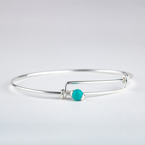 Adjustable Sterling Silver and Aqua Blue Mexican Turquoise Bangle Bracelet - Easy on and off Bangle with Wire Wrapped Turquoise Bead Charm