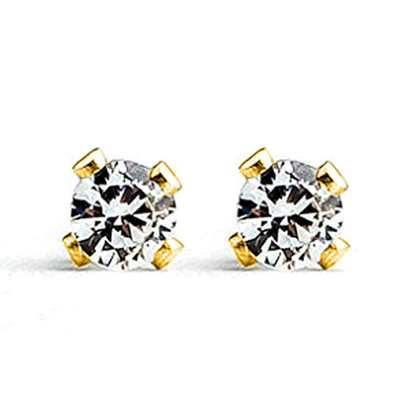 14K Gold CZ Gemstone Stud Earrings // Tiny small 3mm Solid 14K yellow gold faceted Cubic Zirconia gemstone stone post stud earrings