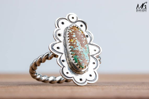 Green and Brown Royston Turquoise Ring in Sterling Silver - Size 8