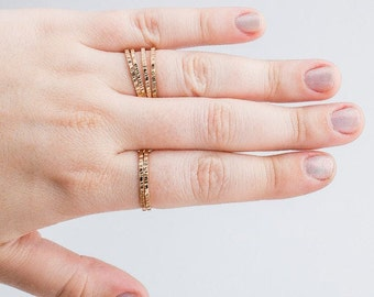 Yellow Gold Rugged Stacking Rings // 14K Gold Fill lined striped rugged hammered stacking rings stackable ring stack skinny thin ring bands