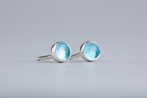 Aqua Blue Topaz Gemstone Stud Earrings in Sterling Silver
