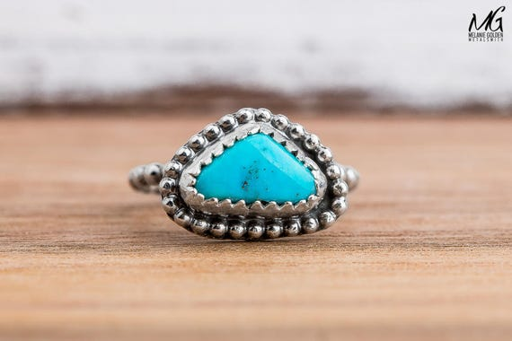 Midi Ring - Morenci Turquoise Gemstone Ring in Sterling Silver - Size 1.75