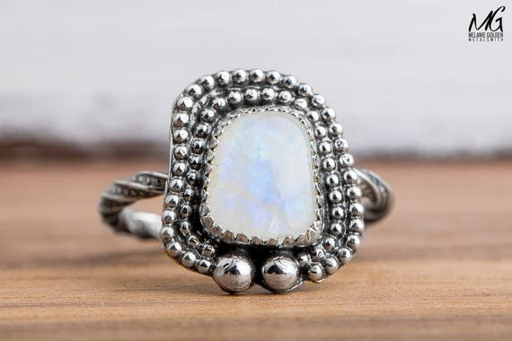 Rainbow Moonstone Ring in Sterling Silver - Size 8