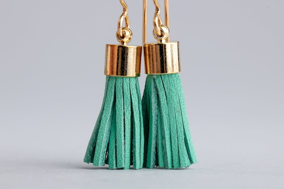 Aqua Blue Leather Tassel Earrings - Light Aqua Green Blue Synthetic Leather Tassel Earrings in 14K Gold Fill - Long Gold and Blue Earrings