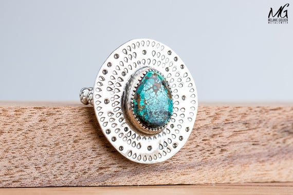 Emerald Ridge Turquoise Gemstone Ring in Sterling Silver with Hand Stamped Border - Size 7