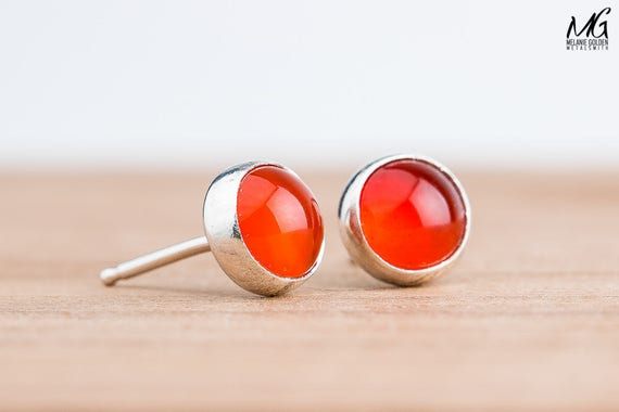 Orange Carnelian Gemstone Stud Earrings in Sterling Silver