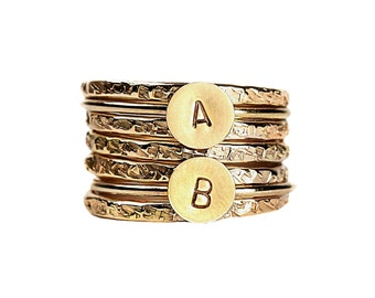 Initial Stacking Rings Set of 7 in Gold, Silver, or Rose Gold // Personalized custom letter monogram stackable stack stacking family ring