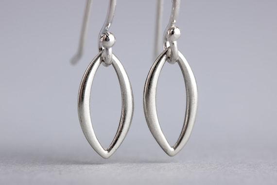 Tiny Silver Leaf Earrings - Sterling Silver Petal Leaves, Marquise Shape Dangle Drop Earrings - Minimal Everyday Jewelry - Silver Leaf Drops