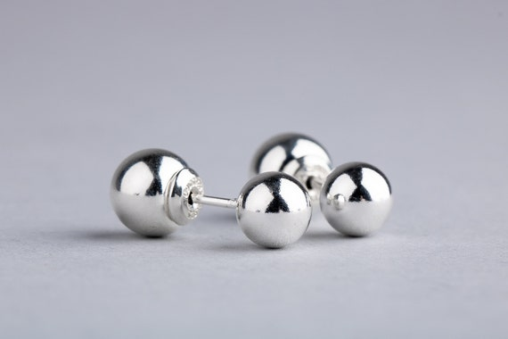 Double Sided Earrings - Silver Front Back Earrings - Solid Sterling Silver Ball Earrings - Double Sided Ball Earrings - Ear Jackets