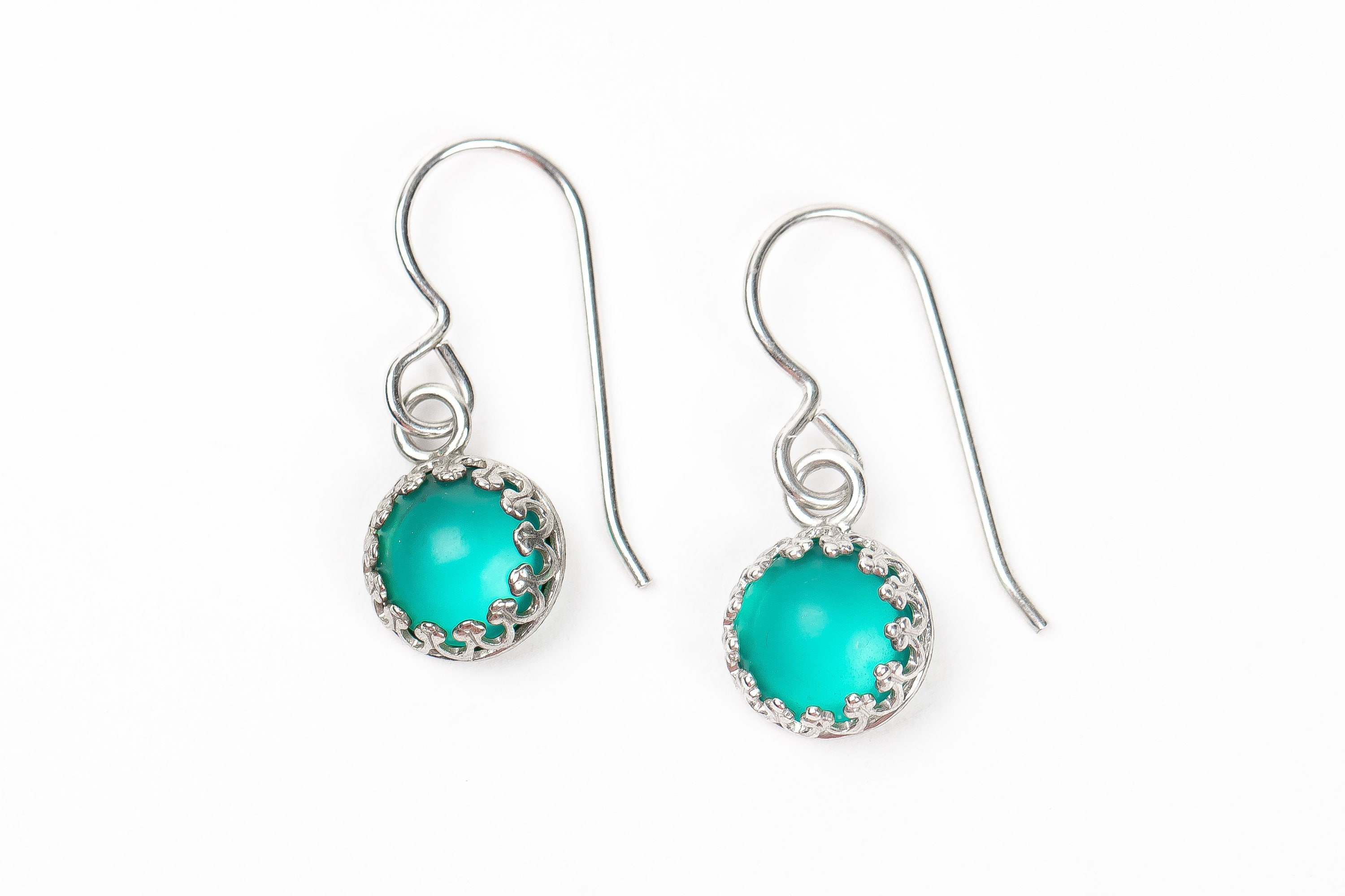 Sterling Silver Drop Dangle Earrings In Teal And Silver