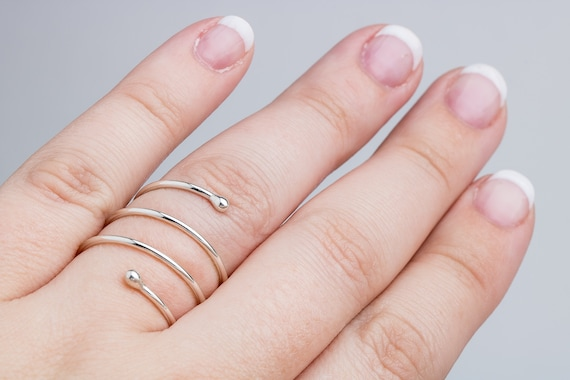 Spiral Ring in Sterling Silver // Adjustable big large bold minimalist boho bohemian beaded bead dot spiral twist coil spring bypass ring
