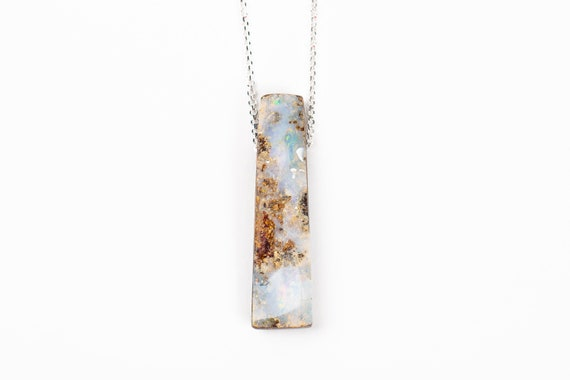 Light Blue Boulder Opal Necklace in Sterling Silver on Long Rolo Chain // Natural aqua multicolored extra long gemstone pendant necklace