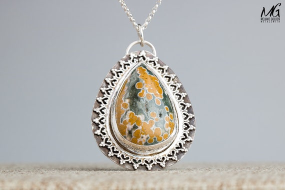 Ocean Jasper Necklace in Sterling Silver with Lace Border