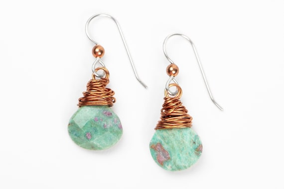 Wire Wrapped Ruby in Fuchsite Gemstone Earrings // Small copper green and pink dangle drop boho bohemian earrings
