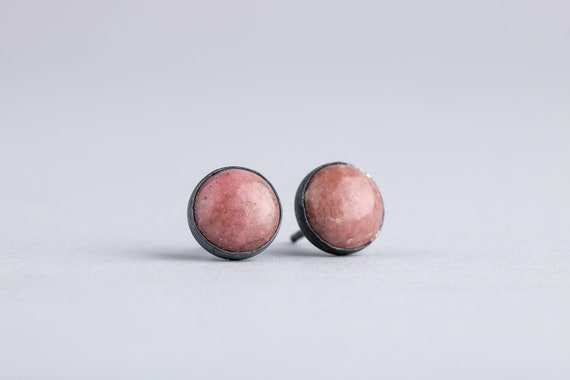 Pink Rhodonite Gemstone Stud Earrings in Oxidized Black Sterling Silver
