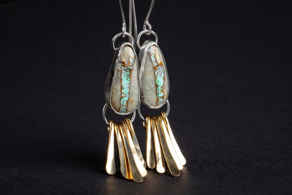 Royston Ribbon Turquoise Earrings // Mixed metal silver and gold boulder turquoise earrings with fringe, big large boho bohemian earrings