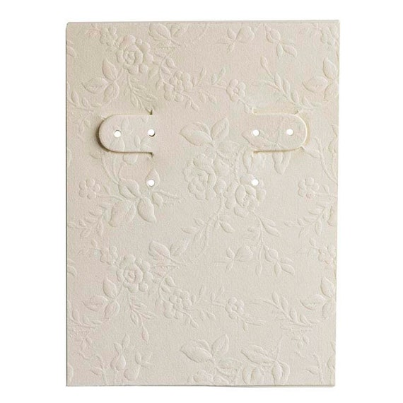 Ivory Floral Embossed Paper Covered Earring Card - Beige Tan Earring Card - Flower Jewelry Card - Pack of 10