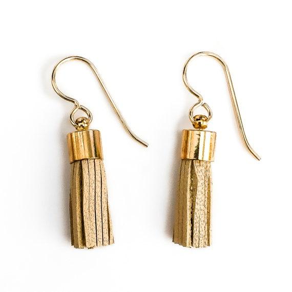 Tiny Tan Synthetic Leather Tassel Earrings // Small little 14K Gold Fill beige tan brown neutral fringe bohemian boho dangle drop earrings