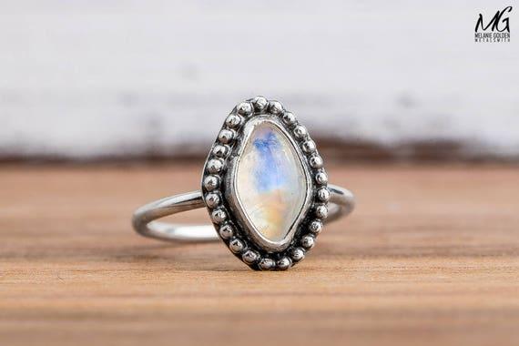 Midi Ring - Rainbow Moonstone Gemstone Midi Ring in Sterling Silver - Size 3