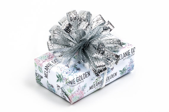 Gift Wrapping Service Add on // Signature Melanie Golden Jewelry Succulent Gift Wrap with Metallic Silver Bow