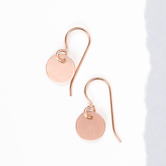 14K Rose Gold Fill Circle Disc Dangle Earrings // Medium 9mm smooth flat round circle dot coin medallion dangle drop minimal earrings