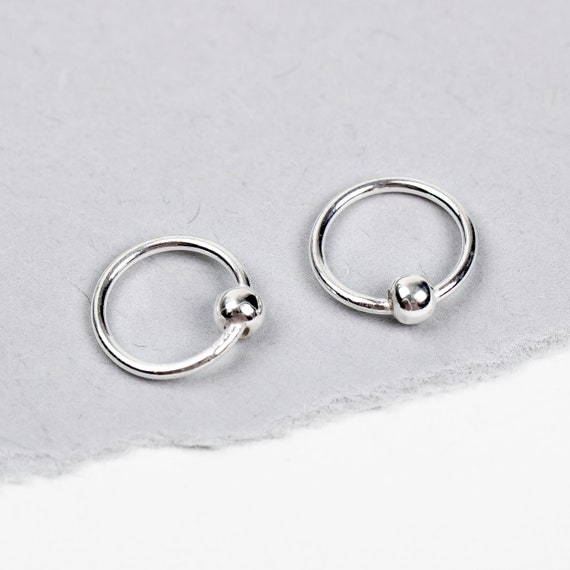 Sterling Silver Huggies Ball Hoop Earrings // Tiny Small little 8mm ball end round seamless circle hoop bead earrings for earlobes piercings