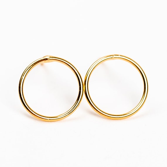 Large Round Open Circle Stud Earrings in Sterling Silver or Gold Vermeil // Big Large 10mm round open circle halo hoop post stud earrings