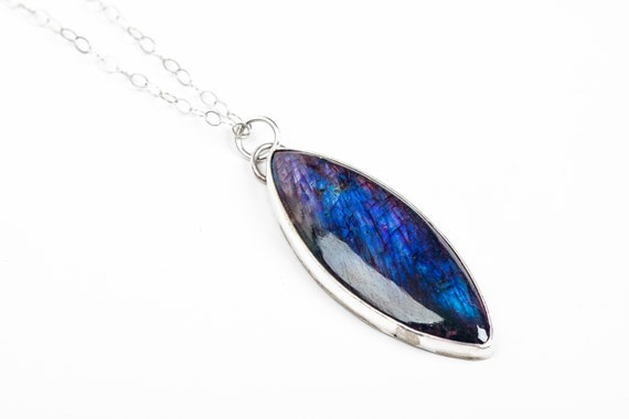 Long Blue Labradorite Marquise Gemstone Necklace in Sterling Silver // Big huge super long dark indigo blue iridescent labradorite pendant