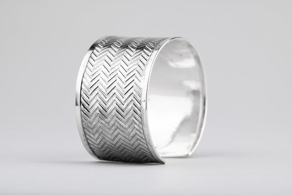 Sterling Silver Chevron Cuff Bracelet - Wide Embossed Bangle Cuff Bracelet - Huge Bohemian Style Statement Cuff Bracelet - Zig Zag Pattern