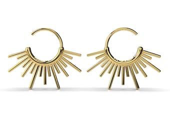Sun Burst Endless Hoop Earrings in 14K Gold, 14K Rose Gold, or Sterling Silver   Designer Series   Edgy Spike Planetary Celestial Posts
