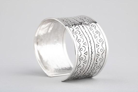Sterling Silver Cuff Bracelet - Wide Hand Stamped Bangle Cuff Bracelet - Huge Bohemian Navajo Indian Aztec Style Statement Cuff Bracelet