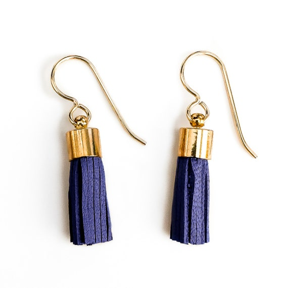 Tiny Dark Blue Purple Synthetic Leather Tassel Earrings // Small little 14K Gold Fill dark navy cobalt fringe boho dangle drop earrings