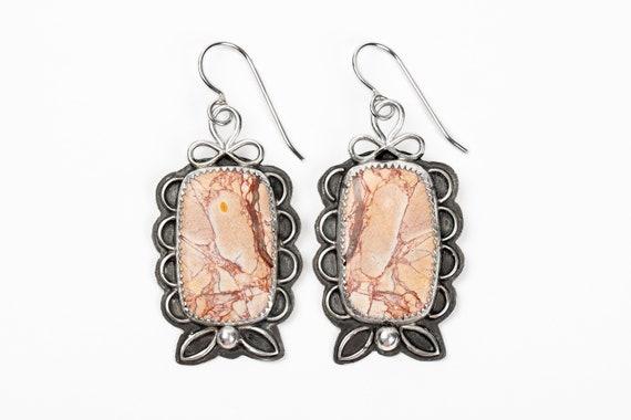 Pink Pattern Jasper Gemstone Earrings in Sterling Silver // Big large pink tan red rectangle floral flower petal dangle drop earrings