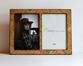 Double 4x6 or 5x7 Wood Picture Frame, Double Frame Honey Stain Wood Look, Wood Chevron Pattern Frame, Light Wood Stain Double 5x7 4x6 Frame