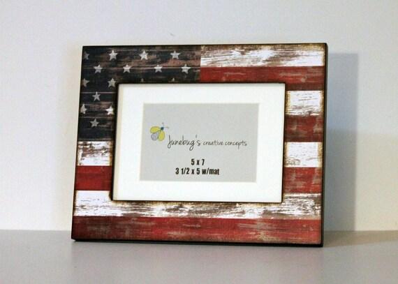 American Flag Photo Frame Usa Flag Picture Frame Americana Etsy